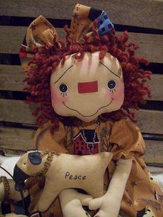 Primitive Raggedy Ann Doll~Prim Blessings~Wooden Blessing Box~Sheep |