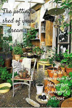 A dream shed for a gardener: practical but also beautiful, a place to enjoy your hobby but also a place from which to enjoy your garden.
