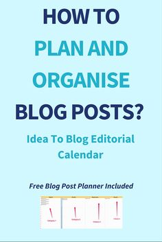 How To Plan And Organise Blog Posts? Idea To Blog Editorial Calendar To plan and organise blog posts is not a rocket science. It only takes the right method and a decent planning. If you plan and organise blog posts in advance and in a strategic way then it will pay off with a good return. And that is why today I'm going to show you how to do just that. The method I use is simple, easy to follow and it doesn't take the brain out of your head. Click through to read the full post >>>