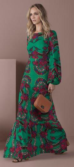 vestido longo manga longa bufante estampado floral bolsa tira colo quadrada sandalia salto grosso
