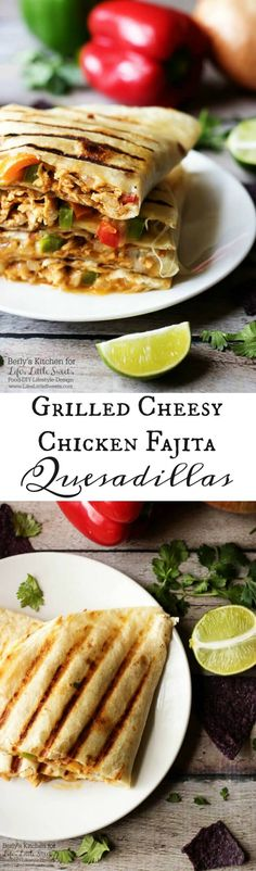 Celebrate Fiesta Friday with these delicious grilled cheesy chicken fajita quesadillas. They are cooked to perfection and loaded with chicken and pepper jack cheese! www.lifeslittlesweets.com