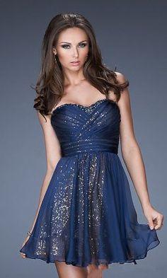 sequins navy short prom dress