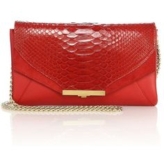 Khirma New York Roya Leather & Python Envelope Clutch (32,820 DOP) ❤ liked on Polyvore featuring bags, handbags, clutches, apparel & accessories, flame, envelope clutch, leather envelope clutch, leather hand bags, red clutches and leather purses