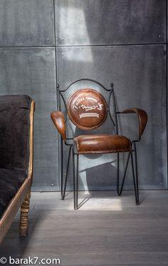 """Chaise industrielle """"Faites comme chez vous"""" - BARAK'7#barak7.com/fr"""