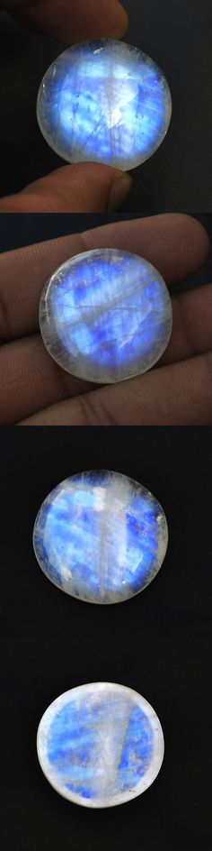 Moonstone 10237: 55.8 Cts Blue Fire 27 Mm Round Cabochon Natural Rainbow Moonstone Loose Gemstone -> BUY IT NOW ONLY: $45 on eBay!