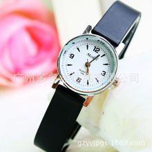 Đồng hồ đeo tay nữ, dây da trơn, mặt tròn, phong cách năng động