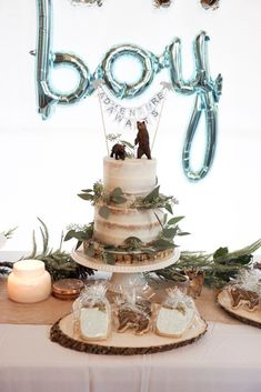 How to throw the perfect woodland theme baby shower with rustic touches, bears, . How to throw the perfect woodland theme baby shower with rustic touches, bears, … – Baby Shower Gateau Baby Shower, Deco Baby Shower, Baby Shower Winter, Baby Winter, Shower Party, Baby Shower Parties, Baby Shower Cakes For Boys, Baby Boy Shower Decorations, Safari Baby Shower Cake