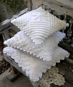 chenille bedspread pillows with huge rick rack