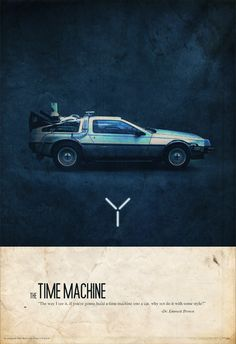 """""""A poster series dedicated to some cool cars from the 80's."""" The DeLorean time machine, KITT and the Pursuit Special."""