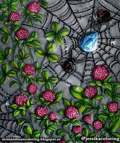 coloring: Drop dead beautiful Spider diamond from Hanna Karlzon Sommarnatt coloring book. Chameleon pens and faber castell pitt brush. White gel pen.