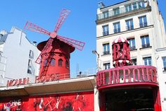Montmartre, Paris, France.And at the bottom of the hill, the infamous Moulin Rouge.
