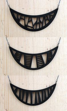Laser TRIBAL WOOD PENDANT in black    Modern Chic by moderngirljewelry on Etsy
