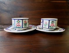 Vintage French HB Quimper Octagonal Cups & Saucers With Hand Painted Traditional Flowers - Pair Of 2 by pentyofamelie on Gourmly