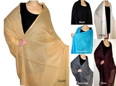 Very large chiffon shawls - beautiful large sized wraps for spring summer evening wear. Many colors on sale.