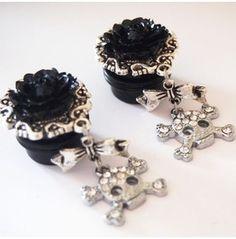 Black Glam Skull 5/8 Inch 16mm Acrylic Dangle Plugs
