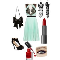 A fashion look from December 2014 featuring BCBGMAXAZRIA dresses, Jessica Simpson sandals and MM6 Maison Martin Margiela clutches. Browse and shop related look…