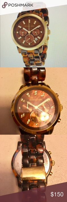 Michael Kors Tortoise Watch Authentic. Glitz tortoise gold stainless steel quartz watch. Minor scratches, good condition. Michael Kors Accessories Watches