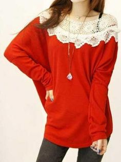 Knitting Vintage Big Collar Dolman Sleeve Sweater on buytrends.com