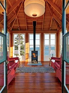 small woodburning stove for screened porch