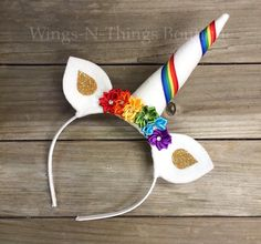 A personal favorite from my Etsy shop https://www.etsy.com/listing/285739017/rainbow-unicorn-headband-hair-accessory