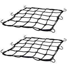 Shappy 2 Pack 15 x 15 Inches Elasticated Cargo Nets Bicycle Motorcycle Luggage Nets Helmet Nets with 18 Pack Adjustable Metal Hooks  Package: includes 2 packs elasticated cargo nets measured approx. 15 x 15 inches in size, and they are suitable for cars, bicycles, motorcycles and more  Mesh size: the mesh size of these bike cargo nets is approx. 3 x 3 inches, which is good for holding your things securely, even for smaller sized items  Well designed: the automotive cargo nets contain r...