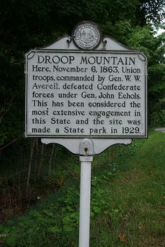 Battles and skirmishes participated in by the 19th Regiment, Virginia Cavalry, CSA -- Droop Mountain Battlefield State Park, Pocahontas County, West Virginia.