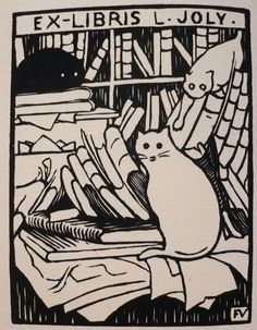 Ex-Libris. L. Joly | woodcut bookplate of Cats and Books | by Felix Vallotton