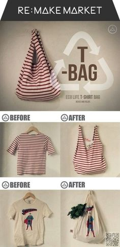 3. #Tshirt up Cycle to Bag - #Check out These #Simple DIYs to Spruce up Your Home ... → DIY #Bottle