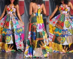 Dance With the Night - Long Unique African Dress, Black Dress with Bright African Patchwork, Ooak Boho Patchwork Dress, Ideal for L to African Inspired Fashion, African Print Fashion, Africa Fashion, Fashion Prints, Fashion Styles, African Attire, African Wear, African Women, African Style