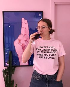 I agree with her t-shirt so much like shit the hell up we don't care what you think. Mode Style, Aesthetic Clothes, Human Rights, Diy Clothes, Girl Power, Cool Outfits, Ethical Fashion, Fashion Looks, T Shirts For Women