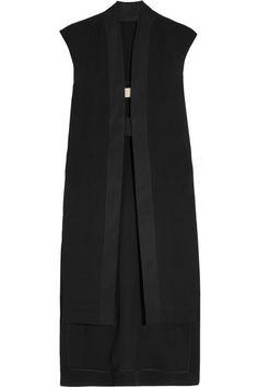 Black silk Open sides, longer back hem, reinforced stretch-cotton trims Snap-fastening tab at split front silk; Chaleco Casual, Vest Jacket, Jacket Style, Moslem, Long Vests, Mode Hijab, Rick Owens, Black Silk, Minimalist Fashion