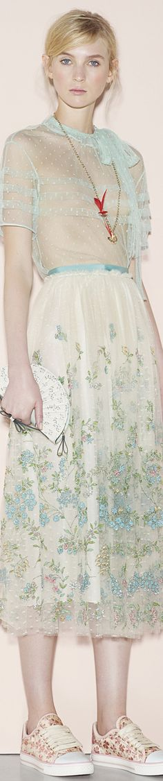 Love the dress, but it's about the sneakers. What the ... ? They are very pretty, but with this dress the look is not clever, it is just absurd. | Red Valentino SS 2016 RTW Vogue