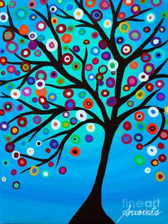 Trademark Fine Art 'Dancing Tree Of Life' Canvas Art by Prisarts, Blue Techno, Artist Canvas, Canvas Art, Life Poster, Mexican Folk Art, Flowering Trees, Blue Backgrounds, Giclee Print, Art Pieces