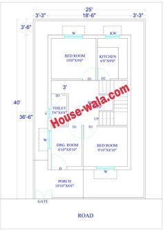 House Plan 25 X 40 feet Sq. Mini House Plans, 20x30 House Plans, 2bhk House Plan, Small House Floor Plans, Simple House Plans, Duplex House Plans, Bedroom House Plans, New House Plans, Modern House Plans