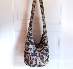 Printed Burlap Hobo Bag Sling Bag Jute Country Chic by 2LeftHandz, $32.00