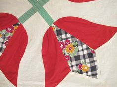 Lot-of-11-Hand-Made-Feed-Sack-QUILT-BLOCKS-in-FOUR-TULIPS-Pattern-18-Sq-Each