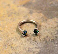 Black Opal Fire Hoop 16G Lip Ring Cartilage Septum by Purityjewel