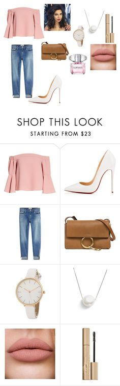 Untitled #46 by giouli-peristeri on Polyvore featuring Topshop, Frame, Christian Louboutin, Chloé, Chan Luu, Stila and Versace