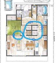 こんにちは! 設計アシスタントの新井です! 本日は「木育の家」の女性建築士さんが作成したプランをご紹介いたしま… Floor Plan Sketch, Bookshelves Kids, Random House, Japanese House, House Layouts, My Dream Home, Building A House, Architecture Design, House Plans