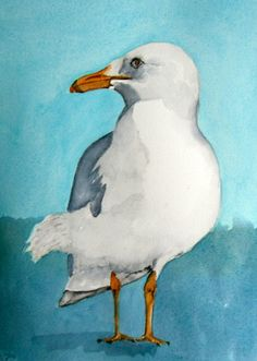 original bird painting bird art seagull watercolor by bMoorearts, $75.00