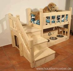 Creative dog bed~ I'd put it right by the living room windows. (Maybe then, Macy would stop using the couch to look outside!) This can be purchased from the website on the photo, but I'd love to find a DIY for this particular dog bed/eating station.