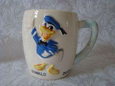 Donald Duck Cup Mug Blue Handle Disney Japan Ceramic 1961 Rca Victor Promotion