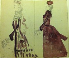 Pages from Princess Alix of Hesse's diary after she first met Tsarevich Nicholas in 1885 at age 12. The drawings are of her sister, Ella who had married Grand Duke Sergei Alexandrovich the previous year.