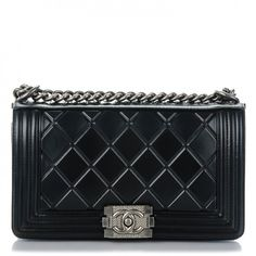 This is an authentic CHANEL Calfskin Embossed Medium Paris Salzburg Boy Flap in Black. This chic shoulder bag features a crystalline patterned embossed calfskin leather with quilted framing edges in black andthe word Paris-Salzburg embossed along the top of flap.