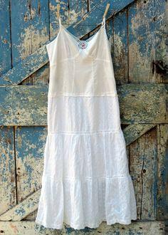 Snow White, So White Sundress/ upcycled romantic boho summer slip dress/ eco friendly white lace sundress. $42.99, via Etsy.