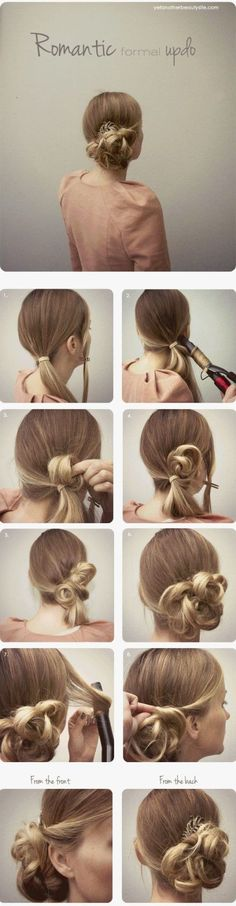 Step by step instructions for twirly side bun