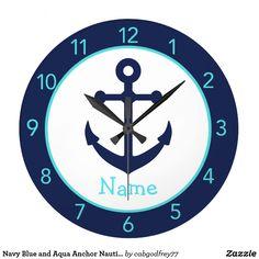 Navy Blue and Aqua Anchor Nautical Wall Clock