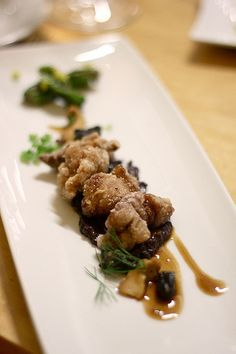 Veal sweetbreads, morels, chanterelles, shishito peppers, yuzu kosho Beef Sweetbreads Recipe, Sweet Bread Meat, Cooking Ideas, Food Ideas, Dinner For 2, Good Food, Yummy Food, Weird Food, Fun Recipes