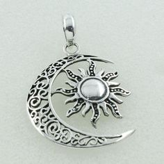 MOON & STAR DESIGN 925 STERLING SILVER PENDANT #SilvexImagesIndiaPvtLtd #Pendant
