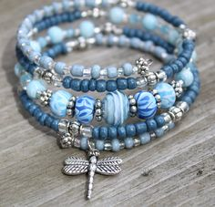 Blue Denim Memory Wire Bracelet with Dragonfly Charm, Dragonfly Bracelet, Charm Bracelet by CathyCJewelryDesign on Etsy
